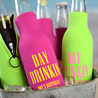 Beer Bottle Koozies showing in Fuchsia with Yellow imprint and Neon Green with Pink imprint