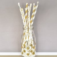 25 Count Paper Party Straws in 2 Colors and Assorted Patterns