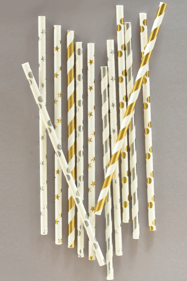 Gold and Silver metallic paper party straws in polka dot, stripe, and star patterns