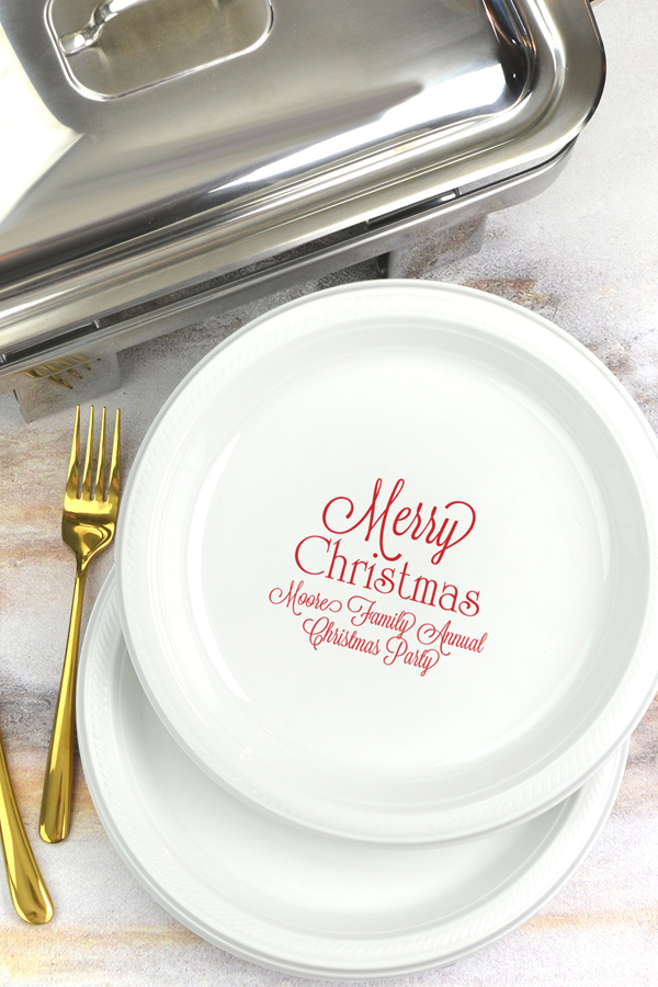 Personalized Plastic Christmas Party Dinner Plates