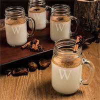 Personalized Old Fashioned Mason Drinking Jars - Set of 4