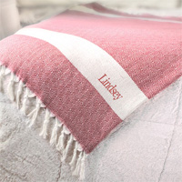 Personalized Turkish Throw Blanket in Red