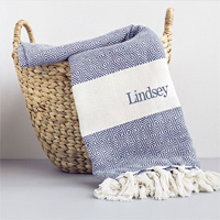 Personalized Turkish Throw Blanket in Blue