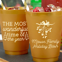 Custom printed cocktail and drink cups for Christmas party