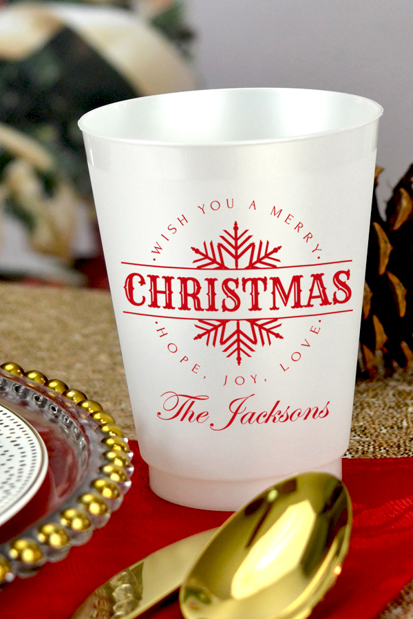 Pearl frosted plastic cups with Dark Red imprint, design CS1403, and one line of custom text in Regal lettering style