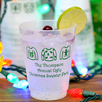 16 Oz Custom Printed Frosted Plastic Christmas Party Cups