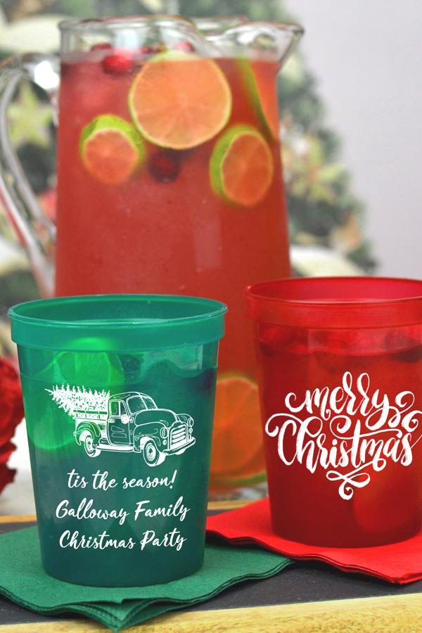 Translucent red and green cups printed with White imprint, CS1402 and CS1416 designs, and three lines of text in Crushine lettering style