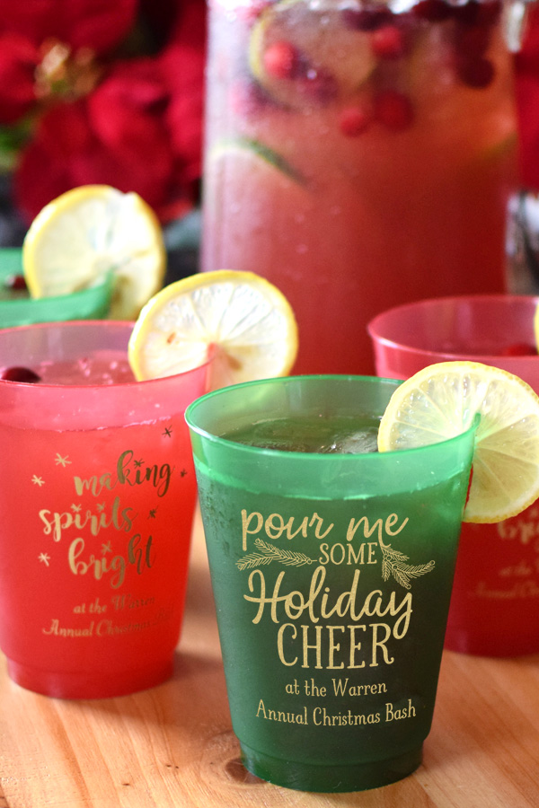 Red and Green 16 Oz Personalized Frosted Christmas Cups