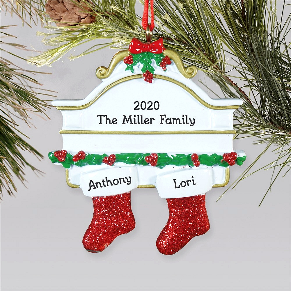 Hanging stockings family Christmas ornament personalized with stockings for two children or two adults