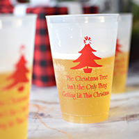 20 oz frosted cups printed with Red imprint, 2128 design, and three lines of text in Poised lettering