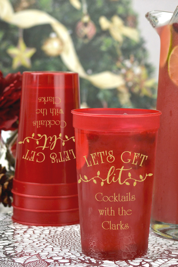 Translucent Red 22 ounce large plastic stadium cups with Gold imprint, design CS1413, and two lines of custom text in Poised lettering style