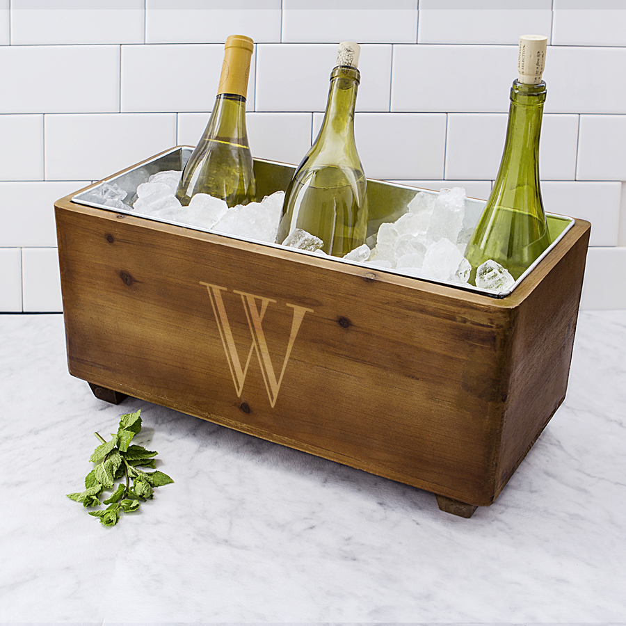 17 x 8 Monogrammed Rustic Wood Trough Wine Chiller