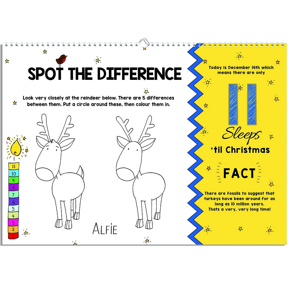 Spot the difference reindeer color activity on 11 sleeps left page of 24 Sleeps Till Christmas personalized advent activity book