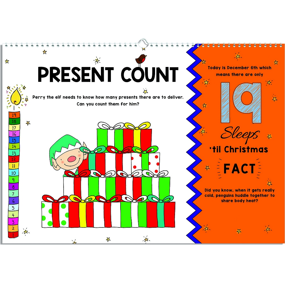 How many presents counting activity on 19 sleeps left page of 24 Sleeps Till Christmas personalized advent activity book