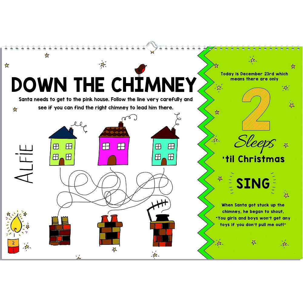 Down the chimney puzzle on 2 sleeps left page of 24 Sleeps Till Christmas personalized advent activity book