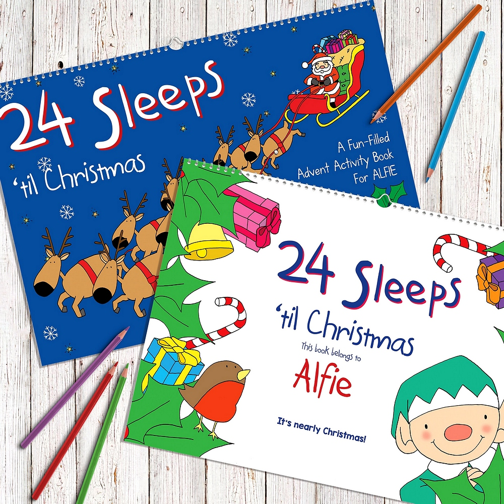 Child's name displayed in inside cover of 24 Sleeps Till Christmas personalized advent activity book