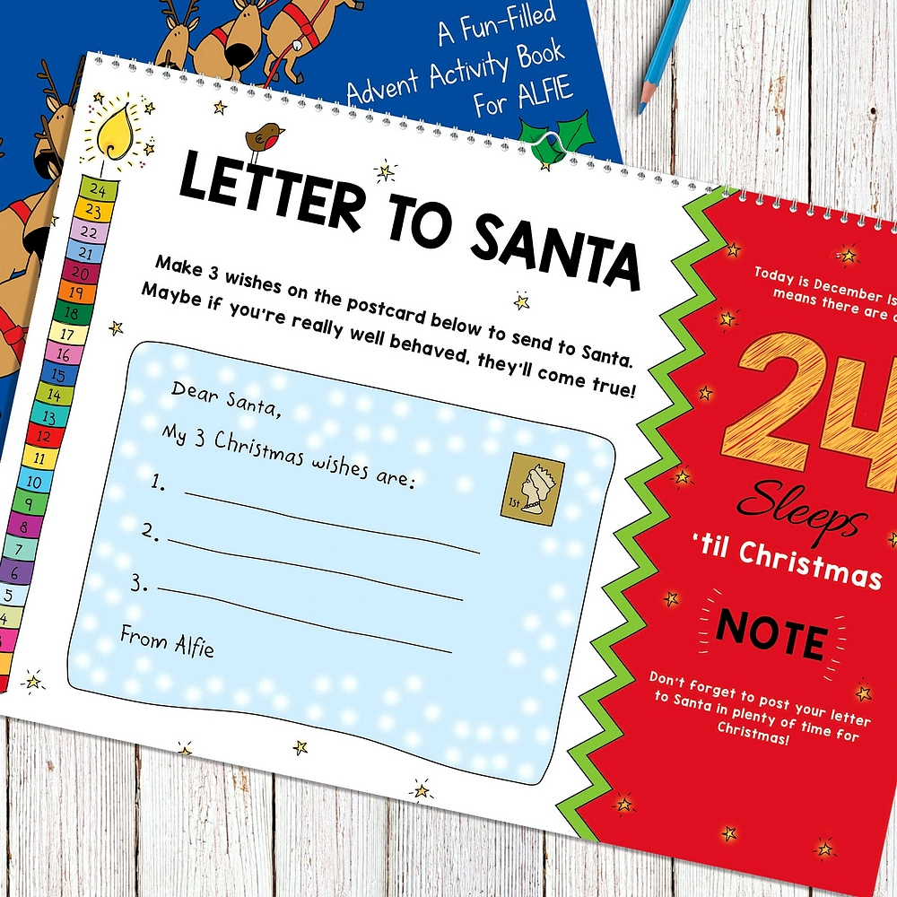 Letter to Santa activity on 24-sleeps left page of 24 Sleeps Till Christmas personalized advent activity book