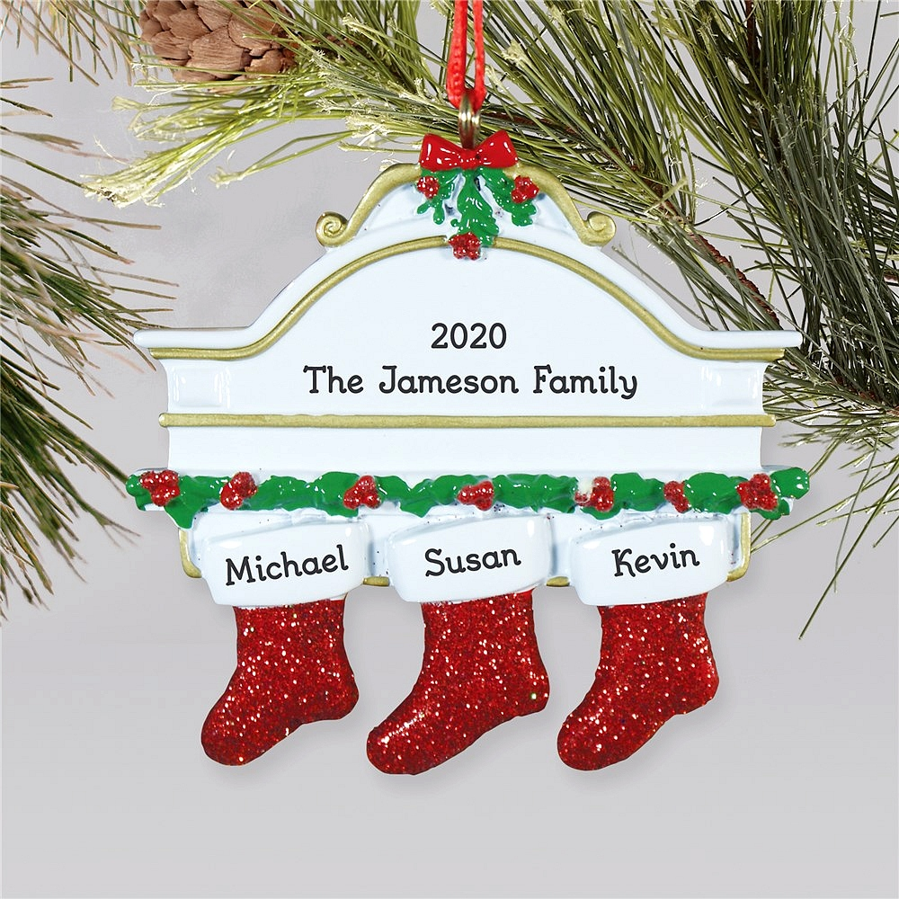 Hanging stockings family Christmas ornament personalized with stockings for family of three