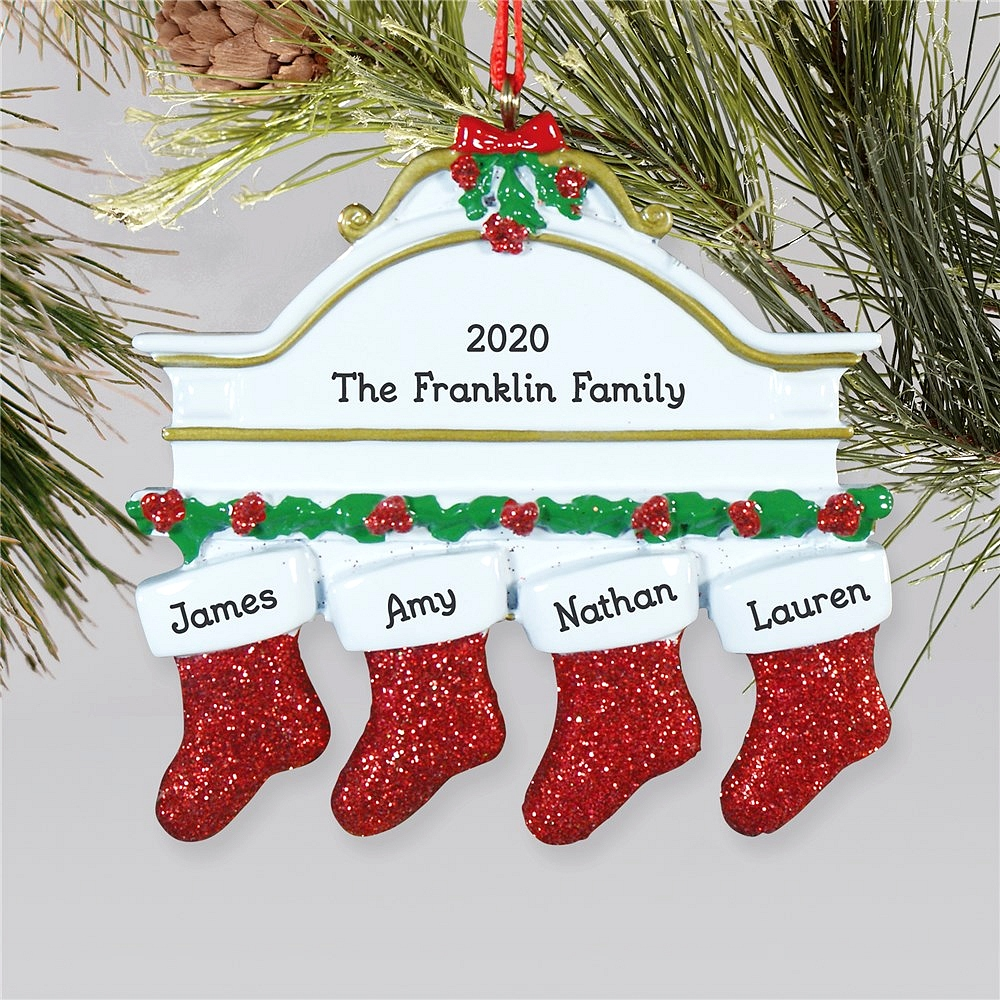 Hanging stockings family Christmas ornament personalized with stockings for family of four