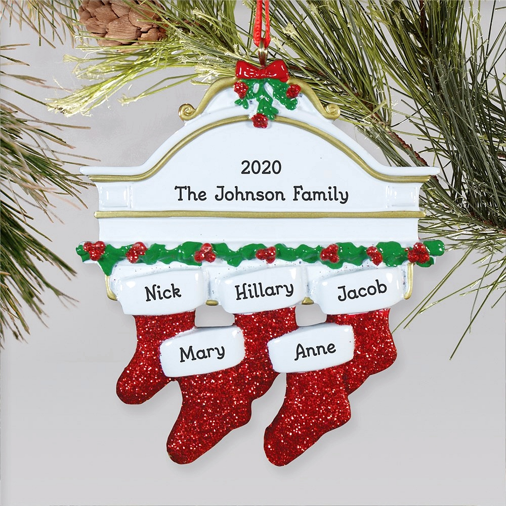 Hanging stockings family Christmas ornament personalized with stockings for family of five