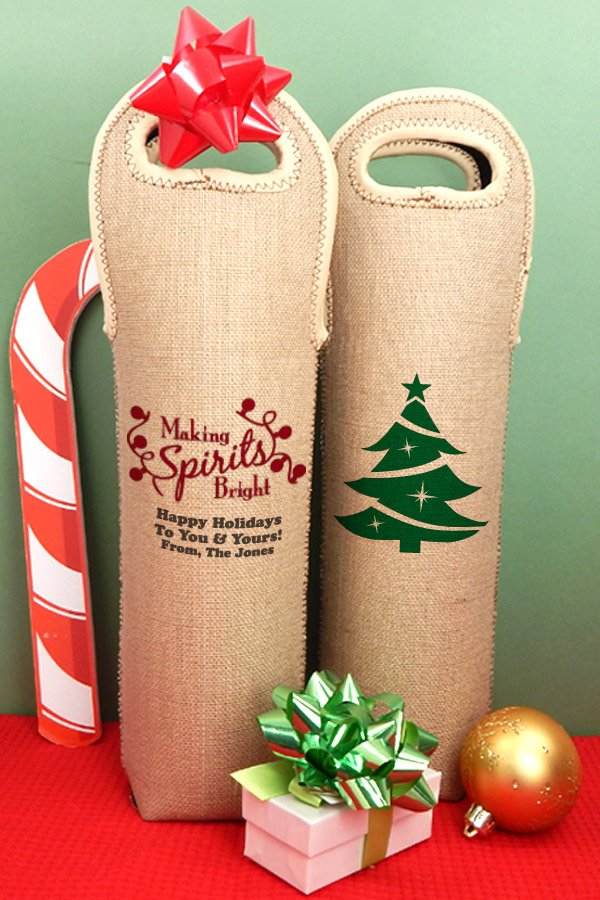 Personalized Insulated Burlap Christmas Wine Tote Bags