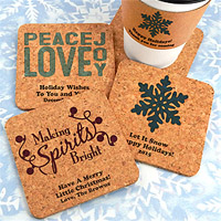 Personalized Square Christmas Cork Board Drink Coasters
