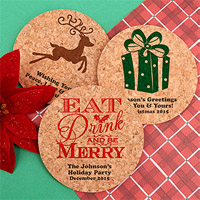 Personalized Round Christmas Corkboard Drink Coasters