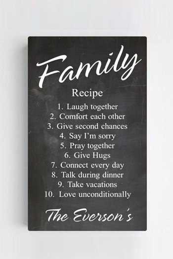 14 X 24 Personalized Family Recipe Canvas Print Signs
