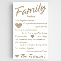 Personalized Family Recipe Chic White Canvas Print Sign