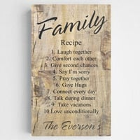 Personalized Family Recipe Rustic Canvas Print Sign