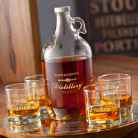 Personalized Distillery Whiskey Growler and Glass Set