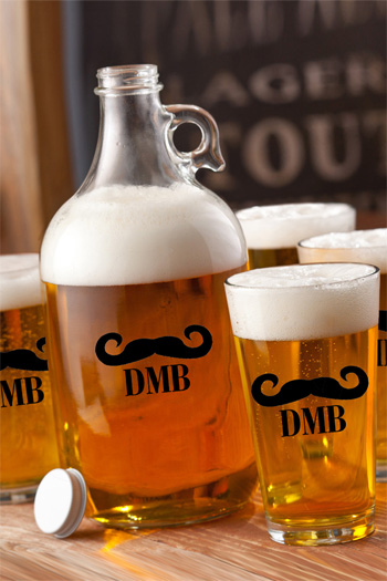 Personalized Mustache Craft Growler & Pint Glasses Gift Set