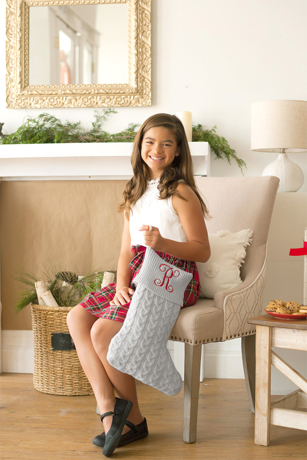 Grey Personalized Knit Christmas Stocking shown with a single initial in Vine Monogram Format in Red Thread color