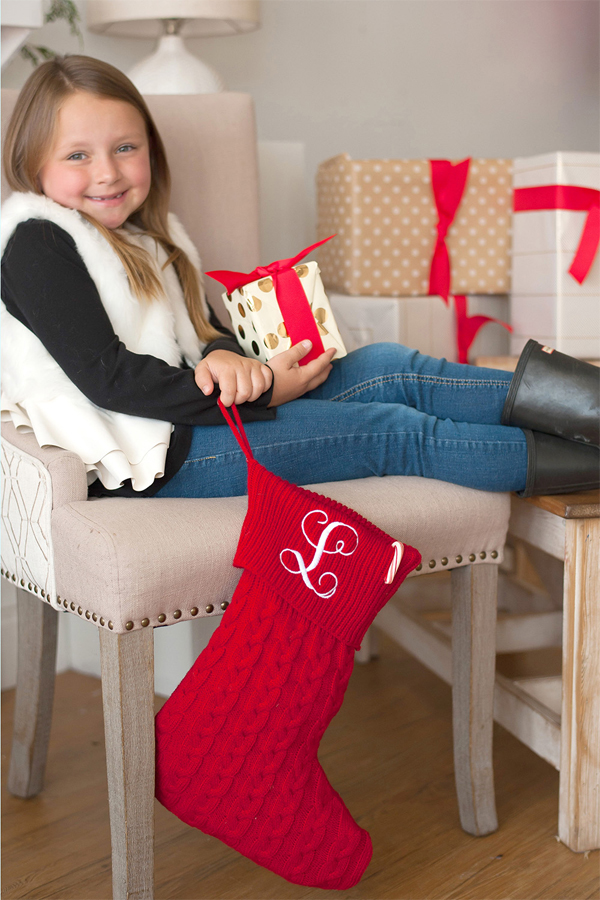 Personalized Knit Christmas Stocking in Red with Single Vine Monogram in White Thread Color