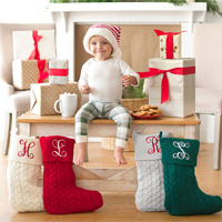 Personalized Knit Christmas Stockings shown in Creme, Grey, Hunter Green, and Red