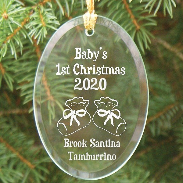 Beveled oval glass First Christmas ornament for baby personalized with baby booties design, baby's name and birth year