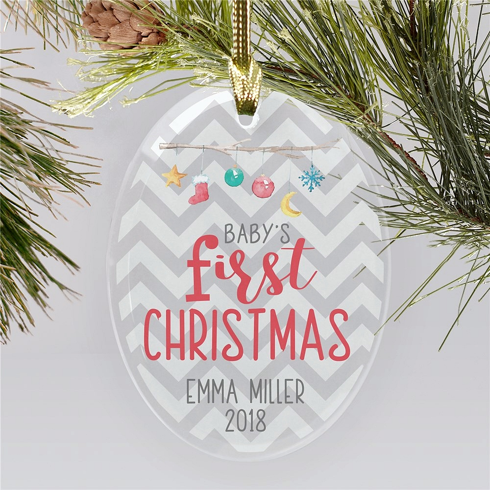 Chevron pattern background beveled glass First Christmas ornament for baby personalized with holiday ornaments mobile design, baby's name and birth year