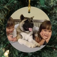 Round resin Christmas tree ornament for pets personalized with happy dog and kids