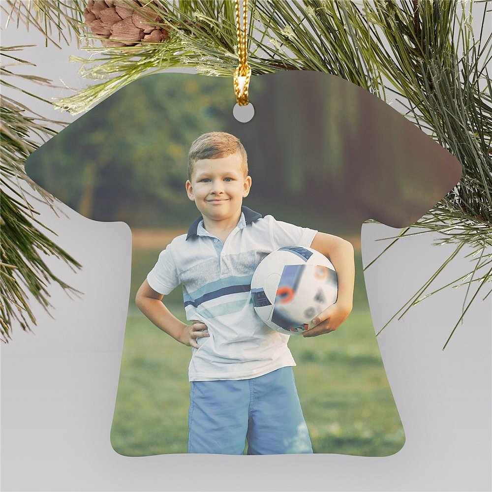 T-shirt shape Christmas tree ornament personalized with personal photo