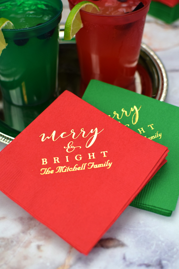 Cocktail napkins printed with CS1106 design, one line of text in Married letering style, and Gold imprint color