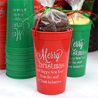 Red and green stadium cups printed with Silver imprint, CS1109 design, and three lines of text in Poised lettering style