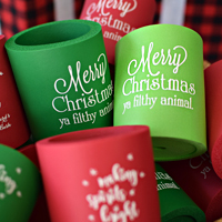 Custom printed can cooler favors for Christmas party