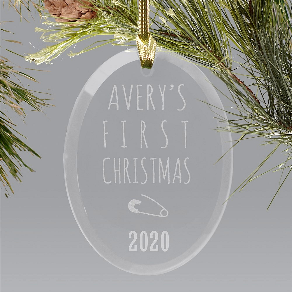 Oval beveled glass First Christmas ornament for baby personalized with diaper pin design, baby's first name and year