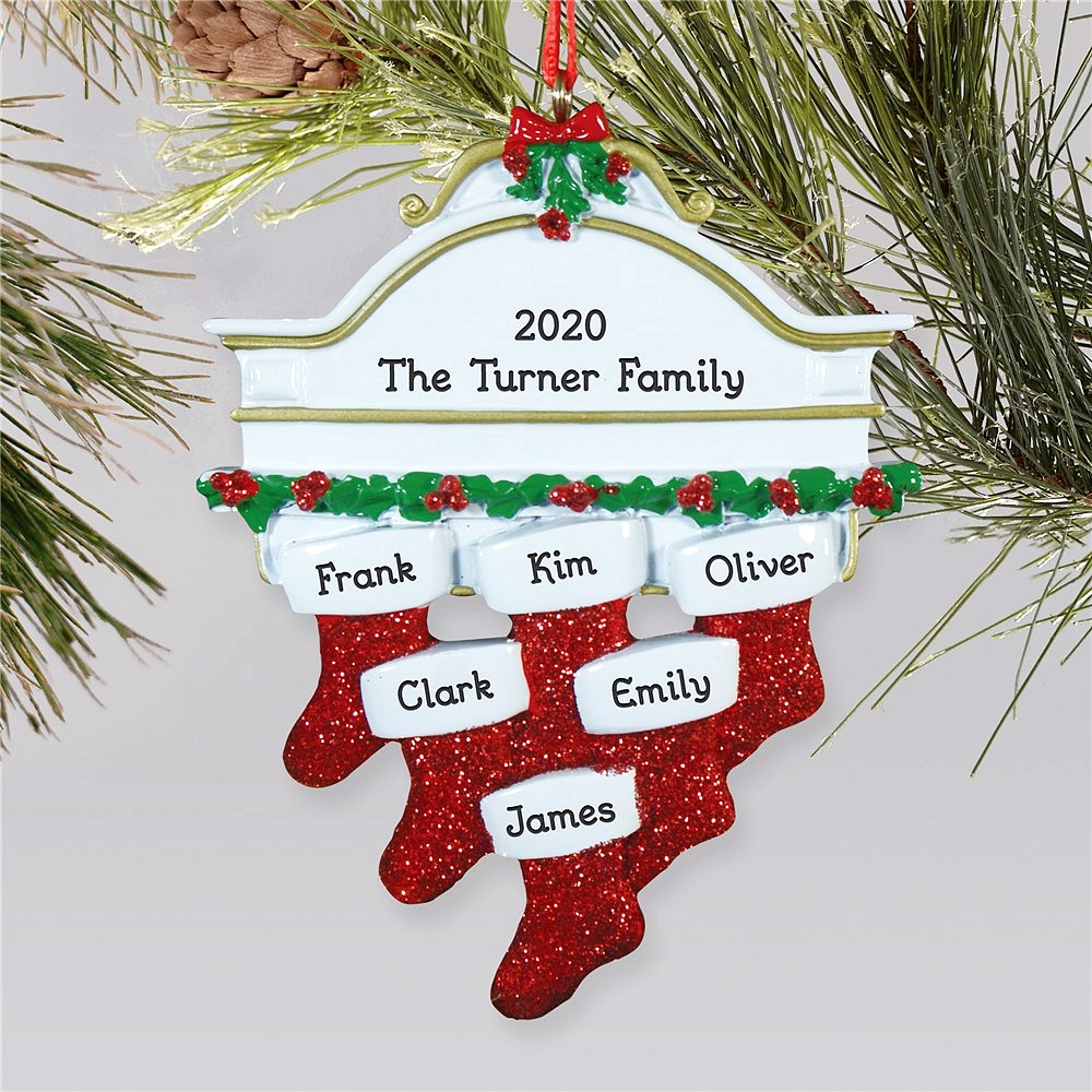Hanging stockings family Christmas ornament personalized with stockings for family of six