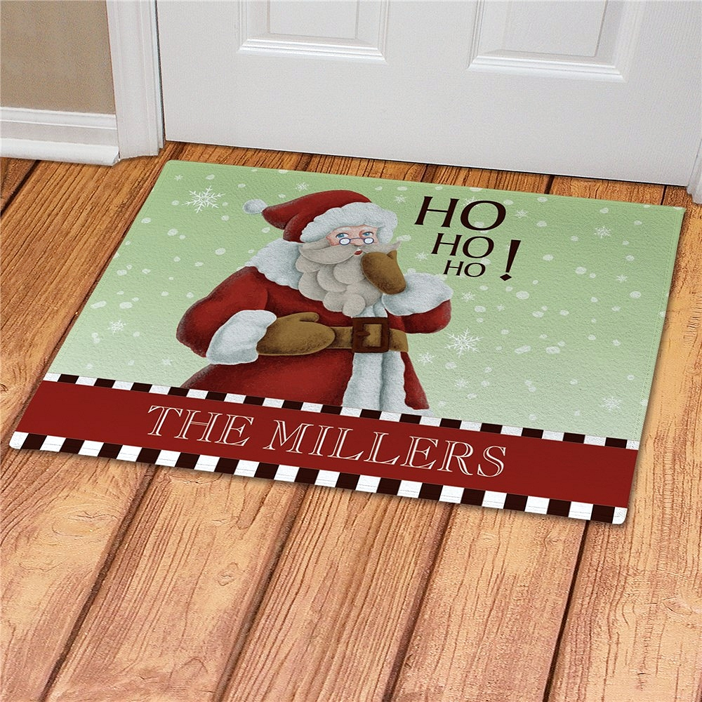 Vintage Santa Christmas doormat personalized with message 'HO, HO, HO!' message and family name