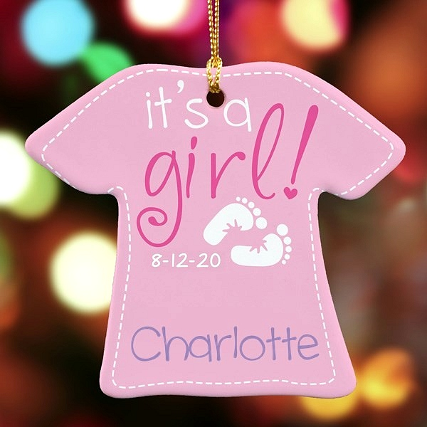 It's a girl! pink t-shirt shape Christmas ornament for baby personalized with baby's name and date of birth