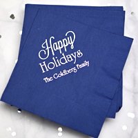Blue napkins printed with CS1110 design, Poised lettering style, and Silver imprint color