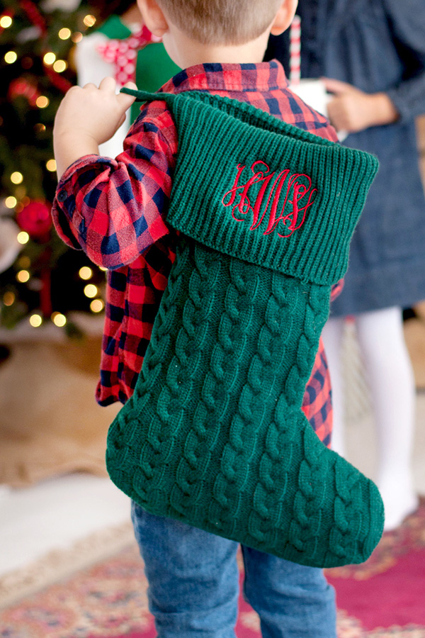 Hunter Green Knit Christmas Stocking with Red Thread Color