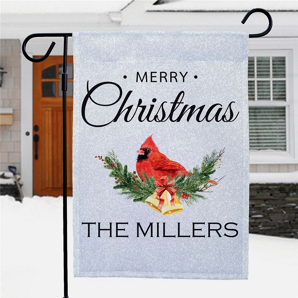 Winter cardinal Merry Christmas garden flag personalized with family name