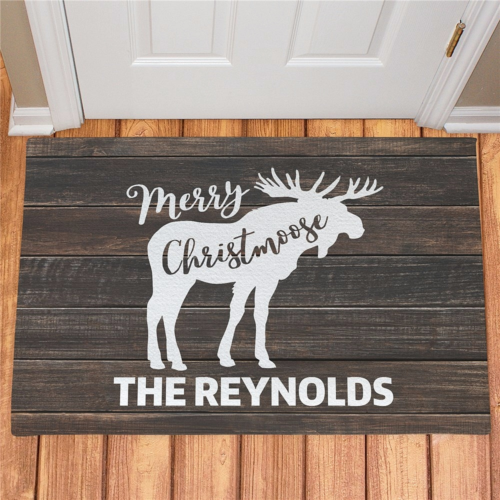 Christmas moose doormat personalized with Merry Christmoose message and family name